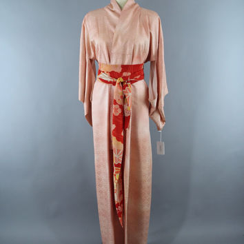 SALE - 1950s Vintage Silk Kimono Robe / 50s Wedding Dressing Gown Lingerie / Downton Abbey Art Deco / Peach Seigaiha Print