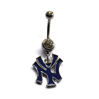 Yankees Belly Button Ring, Sports Navel Jewelry, Baseball jewelry, new york yankees belly button ring, belly piercing, mlb spirit