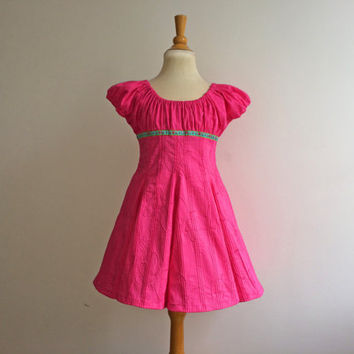 Girls Sundress Hot PInk sz 4Y Birthday Party Dress Spring Girls Clothing Euro Style Boutique Farbenmix