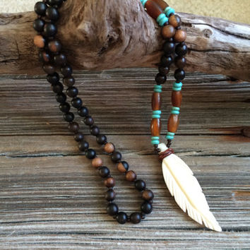 Feather Necklace, Tribal Necklace, Bead and Bone Necklace, Bohemian Necklace, Hippie Jewelry, Ethnic Jewelry, Native American, Wood Beads