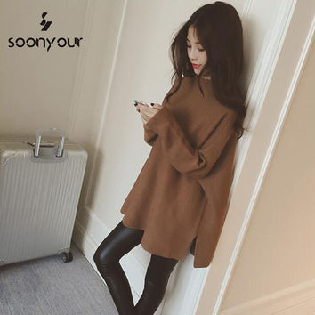 2016 New Fall Hitz Korean version of the hem slit loose hedging long-sleeved sweater and long sections sweater woman
