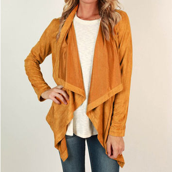 Solid Color Lapel Open Front Cardigan