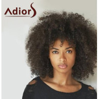 Fashion Medium Capless Fluffy Afro American Curly Heat Resistant Fiber Adiors Wig For Women