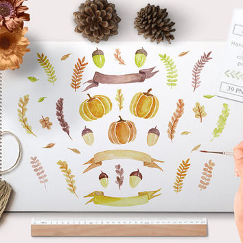 Watercolor Fall Clipart Pumpkins and botanical elements. Watercolour Clip art Autumn graphics halloween leafs twigs laurels and banners