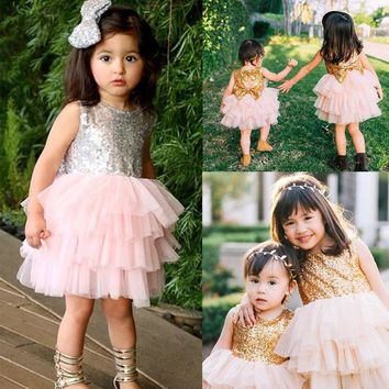 Bowknot Cake Dress Party Mini Ball Gown Dress Fashion Baby Children Girls Dresses Clothes Sequins Backless Bow Gold Lace Dress