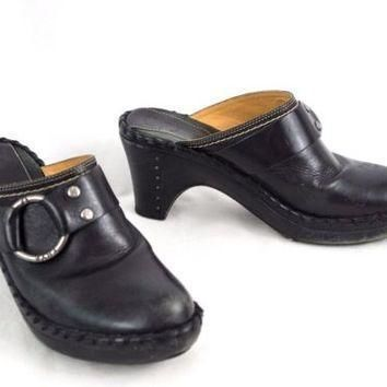 frye-leather-mules-shoes-clogs-black-belted-8-m-whip-stitch-edge-made-in-brazil number 1