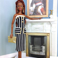 Barbie Doll Dress - Black and White Striped Dress with Gold Accent Buttons, Purse, Earrings, and White Shoes