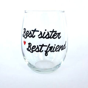 Best Sister Best Friend hand painted stemless wine glass tumbler