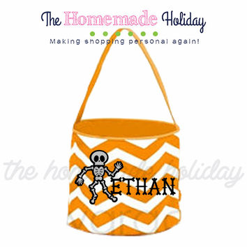 Personalized Skeleton Trick or Treat Halloween Bags