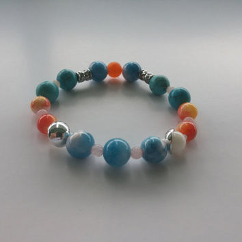 Sky Beaded Bracelet Gemstone bracelet Bracelet for woman Beaded jewelry Boho bracelet Charm Bracelet Friendship bracelet