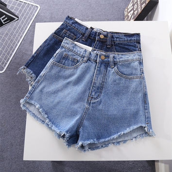 """American Apparel"" All-match Fashion Tassel Edge High Waist  Denim Shorts Hot Pants Jeans"