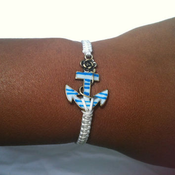 Unique Bronze, White and Turquoise Anchor Bracelet On Silk Cord Free Shipping