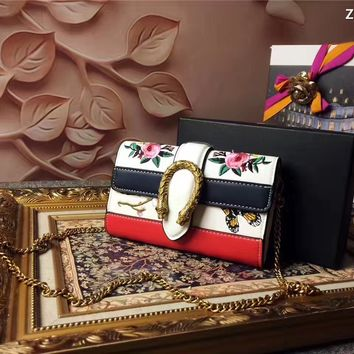 GUCCI BUTTERFLY FLOWERS EMBROIDERY LEATHER CHAIN SHOULDER BAG