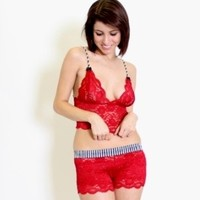 FOXERS - Red Lace Top (Black Bows) Filmstrip Adjustable Straps