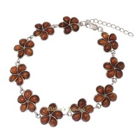 GENUINE INLAY HAWAIIAN KOA WOOD PLUMERIA FLOWER LINK BRACELET 925 SILVER 14MM