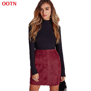 OOTN BSQ008 burgundy wine red mini suede skirt women cute fashion street style autumn winter office clothing work