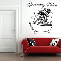 Grooming Salon Wall Decal Dog Cat Vinyl Stickers Comb Pet Shop Home Decor SM23