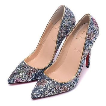 Cl Christian Louboutin Women Sequins Pointed Toe Heels Shoes