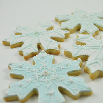 One dozen Large Snowflake Christmas Cookies - light blue - frozen - detailed ice crystals - Cute decorated sugar cookies - winter wonderland