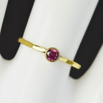 Dainty Solid 14k Gold Ruby Ring