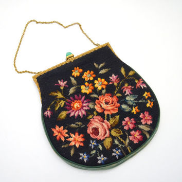 Beautiful Vintage Petit Point Purse with Rhinestone Frame and Green Stone Clasp, Black Floral Needlepoint Handbag, circa 1930s