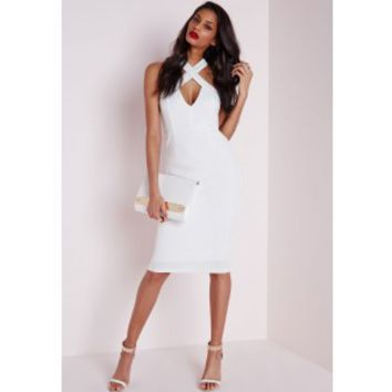Crepe Cross Front Midi Dress White - Dresses - Midi Dresses - Missguided