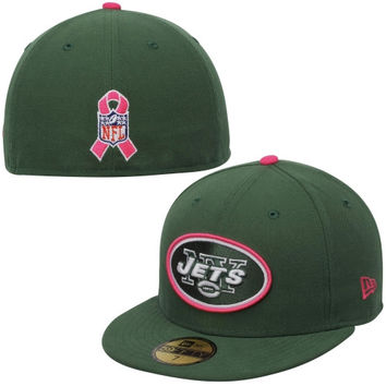 New York Jets New Era 2014 Breast Cancer Awareness On Field 59FIFTY COOLERA Fitted Hat – Green