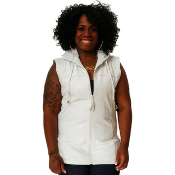 Womens Leather Shirt White Hoodie Zip up Sleeveless Tee Nappa Sheepskin S - 6XL