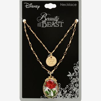 Licensed cool Disney Beauty And The Beast Pressed Rose Pendant & Charm Necklace Set 2PK NWT