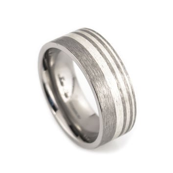 Titanium Wedding Band, Silver inlay, Satin Finish