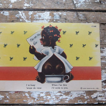 Black Americana Postcard Curteich Card Chocolate Drop Comics Postcard Mammy Postcard Sambo Postcard