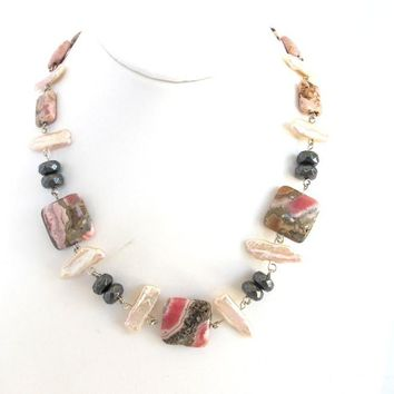 Rhodochrosite and Hematite Necklace with Biwa Pearls