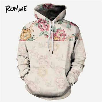 ROMWE Men Floral Print Hooded Sweatshirt Mankind Autumn Casual Long Sleeve Clothing Male Multicolor Drawstring Pullovers Hoodie