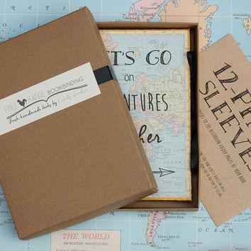 World Traveler Journal with Pockets and Envelopes - Personalized Travel Journal- World Map -