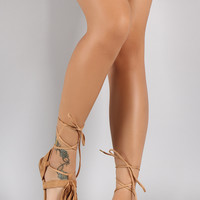 Qupid Suede Fringe T-Strap Strappy Ankle Wrapped Flat Sandal