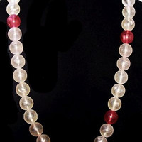 "Pink White Bubble Bead Necklace Lucite Material Gold Clasp 25"" Mid Century Vintage"
