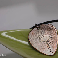 """Flamingo - Custom guitar pick necklace - large - """"Classy Pick"""" brand - guitar quotes gifts for boyfriend, son, dad"""