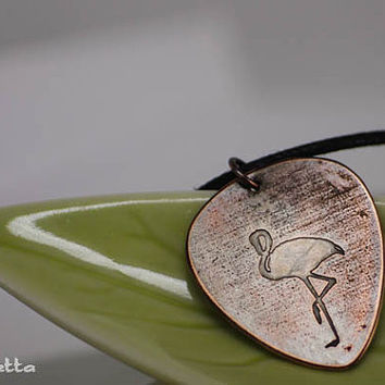 "Flamingo - Custom guitar pick necklace - large - ""Classy Pick"" brand - guitar quotes gifts for boyfriend, son, dad"