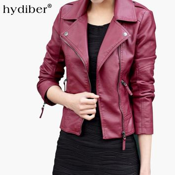 New Short Leather Jacket Women Black Coat Fashion Coat
