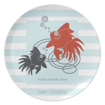 Happy Aquatic Days Cute Goldfish Light Blue Stripe Dinner Plate