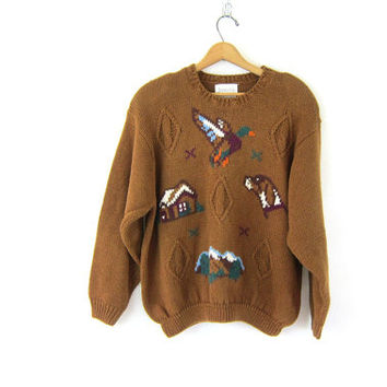 Vintage Duck hunting sweater. brown embroidery knit pullover. Chunky Jantzen sweater. Brown Oversized preppy sweater. Dog and cabin mountain