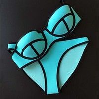 Fashion rubber Material edge black gather type two piece bikini Lake blue