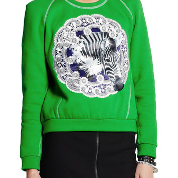 Emma Cook Appliquéd cotton-jersey and silk sweatshirt – 84% at THE OUTNET.COM