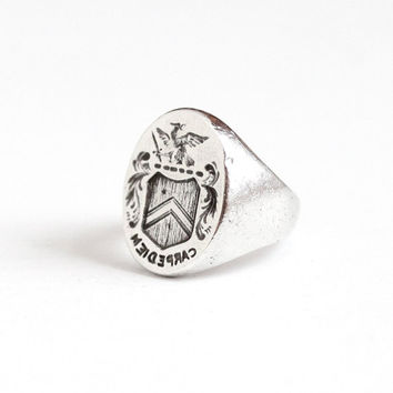 Antique Sterling Silver Carpe Diem Wax Seal Ring - Edwardian Vintage Size 8 1/2 Dragon Shield Crest Signet Seize the Day Statement Jewelry