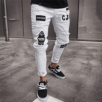 Men's Fashion Vintage Ripped Jeans Super Skinny Slim Fit