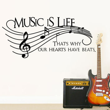 "Characters ""MUSIC"" Note Wall Sticker Living Room Removable wall stickers home decor decoracion PVC Black 57*129CM SM6"