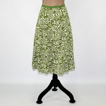 Plus Size Full Skirt Women XL Green Leaf Print Midi Casual Cotton Skirt Drop Pleat Skirt Size 16 Liz Claiborne Plus Size Clothing Women