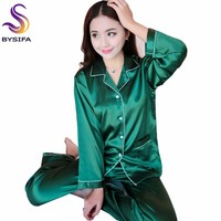 Spring Autumn Dark Green Silk Pajamas Set For Ladies