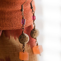 Garnet and Red Aventurine Dangle Earrings with Hammered Brass