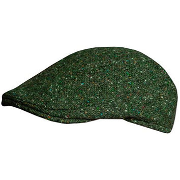Men's Tweed Hanna Hat - Hand Made in Ireland, Traditional Donegal Irish Wool Hat, Green, Large